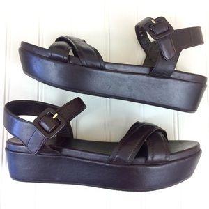 Stuart Weitzman brown crisscross platform sandals